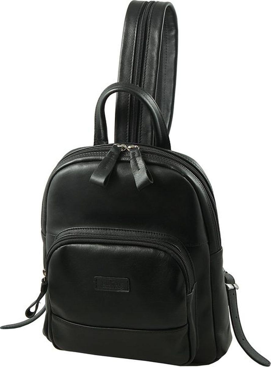 Рюкзак женский Dimanche, цвет: черный. 468/1468/1Стильный женский рюкзак Dimanche выполнен из натуральной кожи. Изделие имеет одно отделение, закрывающееся на застежку-молнию. Внутри находятся два открытых накладных кармана и карман для планшета. Снаружи, на передней стенке располагается накладной карман на застежке-молнии. На задней стенке предусмотрен прорезной карман на застежке-молнии. Рюкзак оснащен двумя лямками, регулируемой длины, которые при помощи молнии соединяются в одну, и удобной ручкой. Стильный рюкзак Dimanche прекрасно дополнит ваш образ.