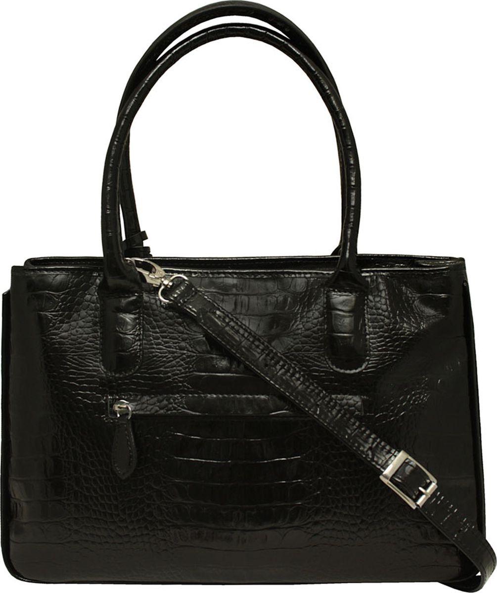 Сумка женская Dimanche, цвет: черный. 443/1R443/1RУдобная женская сумка выполнена из высококачественной натуральной кожи. Идеальна для формата А4. На задней стороне сумки имеется карман на молнии, по бокам - оригинальные кнопочки позволяющие варьировать внутренний объем. Закрывается на молнию, внутри с одного бока карман на молнии, с другого - два открытых кармашка, внутренее пространство сумки разделено на два отделения карманом-перегородкой с молнией. В комплекте отстегивающийся ремень для ношения на плече, регулируется по длине.