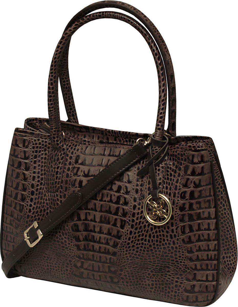 Сумка женская Dimanche, цвет: коричневый. 443/46R443/46RУдобная женская сумка выполнена из высококачественной натуральной кожи. Идеальна для формата А4. На задней стороне сумки имеется карман на молнии, по бокам - оригинальные кнопочки позволяющие варьировать внутренний объем. Закрывается на молнию, внутри с одного бока карман на молнии, с другого - два открытых кармашка, внутренее пространство сумки разделено на два отделения карманом-перегородкой с молнией. В комплекте отстегивающийся ремень для ношения на плече, регулируется по длине.