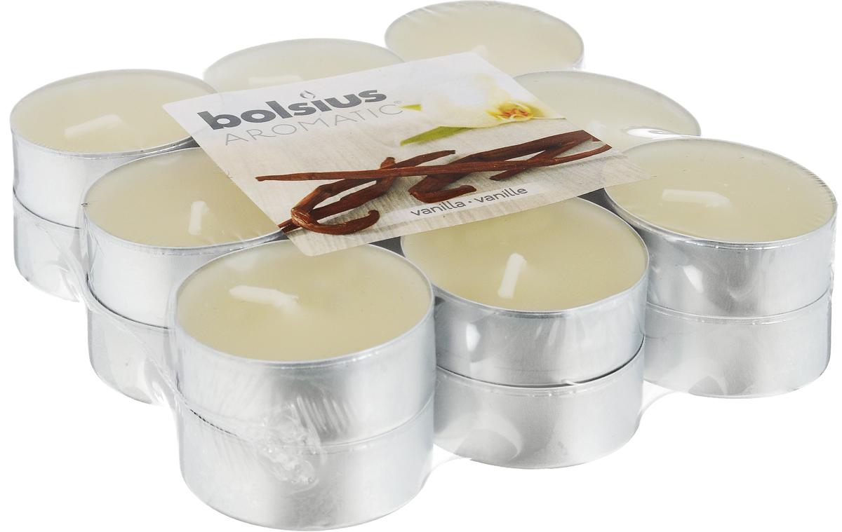 Свеча ароматическая чайная Bolsius Ваниль, 18 шт103626949375Свеча ароматическая Bolsius Ваниль создаст в доме атмосферу тепла и уюта. Чайная свеча в металлической подставке приятно смотрится в интерьере, она безопасна и удобна в использовании. Свеча создаст приятное мерцание, а сладкий манящий аромат окутает вас и подарит приятные ощущения. Время горения: 4 ч.
