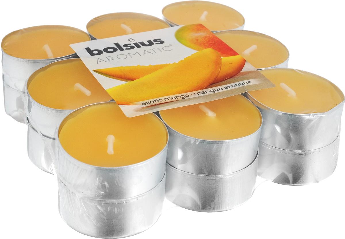 Свеча ароматическая чайная Bolsius Манго, 18 шт103626949310Свеча ароматическая Bolsius Манго создаст в доме атмосферу тепла и уюта. Чайная свеча в металлической подставке приятно смотрится в интерьере, она безопасна и удобна в использовании. Свеча создаст приятное мерцание, а сладкий манящий аромат окутает вас и подарит приятные ощущения. Время горения: 4 ч.