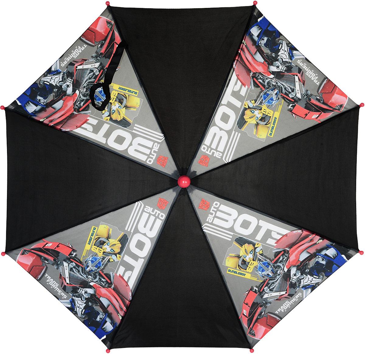 Зонт-трость для мальчика Transformers, цвет: черный, красный. TRANS005001TRANS005001Компактный детский зонтик-трость станет замечательным подарком для вашего ребенка и защитит его не только от дождя, но и от солнца. Красочный дизайн зонтика поднимет настроение и станет незаменимым атрибутом прогулки. Ребенок сможет сам открывать и закрывать зонтик благодаря легкому механизму, а оригинальная расцветка зонтика привлечет к себе внимание.
