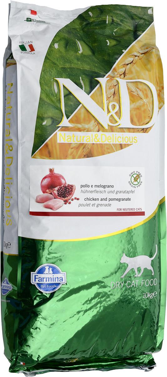 Корм сухой Farmina N&D для стерилизованных кошек и кастрированных котов, беззерновой, с курицей и гранатом, 10 кг00747Сухой корм Farmina N&D - беззерновое полнорационное питание для стерилизованных кошек и кастрированных котов. Продукт имеет высокое содержание витаминов и питательных веществ. Сухой корм содержит натуральные компоненты, которые необходимы для полноценного и здорового питания домашних животных. Товар сертифицирован.
