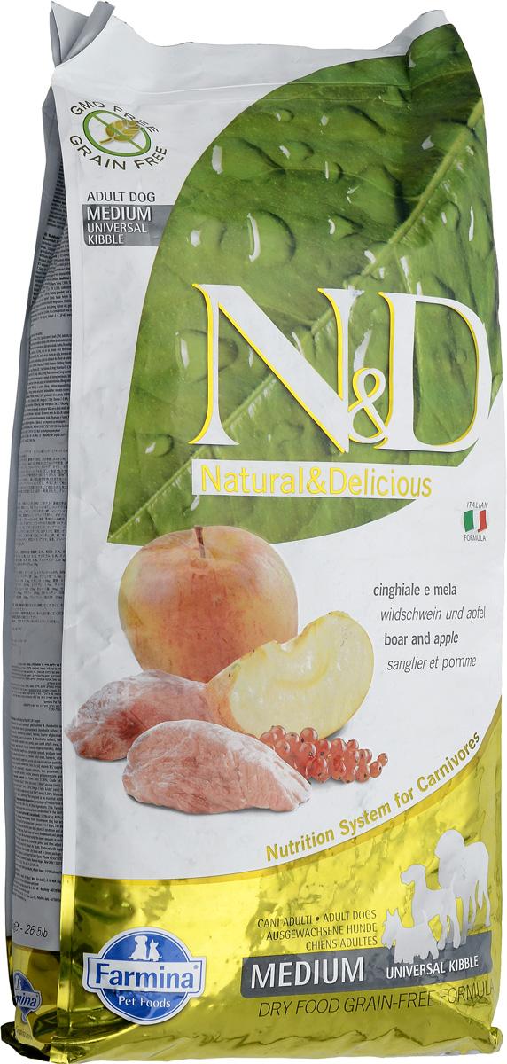 Корм сухой Farmina N&D, для взрослых собак, с кабаном и яблоком, 12 кг20390Сухой корм Farmina N&D является беззерновым и сбалансированным питанием для взрослых собак пород. Изделие имеет высокое содержание витаминов и питательных веществ. Сухой корм содержит натуральные компоненты, которые необходимы для полноценного и здорового питания домашних животных. Товар сертифицирован.