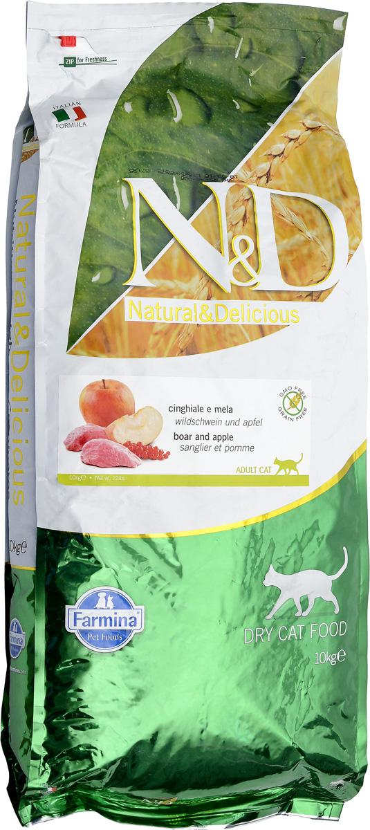 Корм сухой для взрослых кошек Farmina N&D, беззерновой, с кабаном и яблоком, 10 кг24954Сухой корм Farmina N&D является беззерновым полноценным питанием для взрослых кошек. Изделие имеет высокое содержание витаминов и питательных веществ. Сухой корм содержит натуральные компоненты, которые необходимы для полноценного и здорового питания домашних животных. Рецептура корма построена по принципу питания плотоядных. Товар сертифицирован.