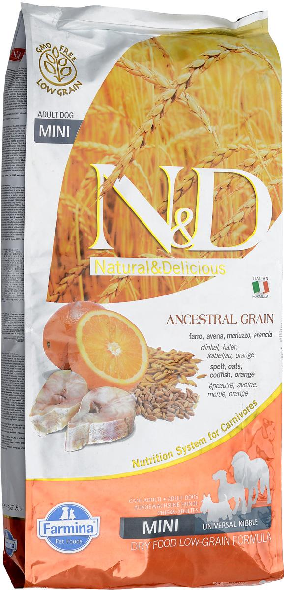 Корм сухой Farmina N&D, для собак мелких пород, низкозерновой, с треской и апельсином, 12 кг22059Сухой корм Farmina N&D является низкозерновым и сбалансированным питанием для взрослых собак мелких пород. Изделие имеет высокое содержание витаминов и питательных веществ. Сухой корм содержит натуральные компоненты, которые необходимы для полноценного и здорового питания домашних животных. Линия продуктов Farmina N&D - это сухие корма для собак, рецептура которых построена по принципу питания плотоядных животных. Товар сертифицирован.