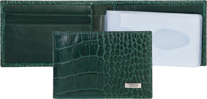 Визитница женская Tirelli, цвет: зеленый. 15-319-2015-319-20Визитница Tirelli изготовлена из натуральной кожи . Внутри содержится блок из прозрачных файлов на 24 пластиковых карт или визиток. Также имеется 4 дополнительных кармашка для пластиковых карт, два потайных кармана для документов Такой футляр не только поможет держать в одном месте все пластиковые карты, но и стильно дополнит ваш яркий образ.