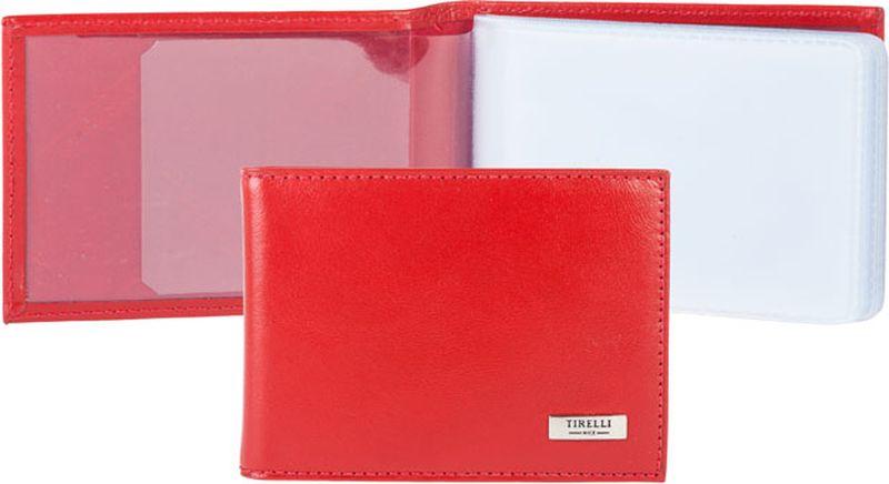 Визитница женская Tirelli, цвет: красный. 15-325-0615-325-06Футляр для карточек Tirelli изготовлен из натуральной кожи. Футляр оформлен фирменным логотипом. Внутри имеется 10 двусторонних кармашков из прозрачного пластика для хранения пластиковых карт, визиток, дисконтных карт и т. п. Такой футляр не только поможет сохранить внешний вид ваших документов и защитит их от повреждений, но и станет ярким аксессуаром, который подчеркнет ваш образ.
