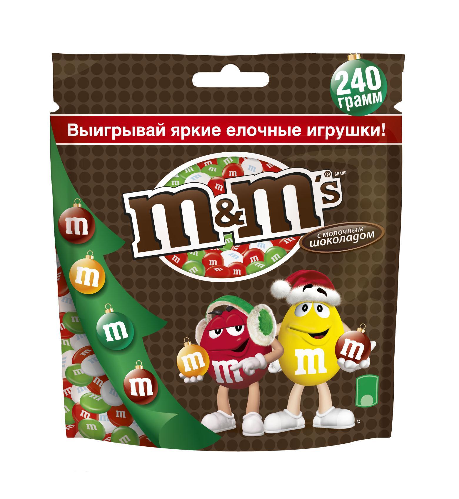 M&Ms Драже молочный шоколад, 240 г10155569Драже M&Ms с шоколадом - это больше веселых моментов для тебя и твоих друзей! Разноцветные драже можно съесть самому или разделить с друзьями. В любом случае, вкус отличного молочного шоколада подарит тебе удовольствие и радость.