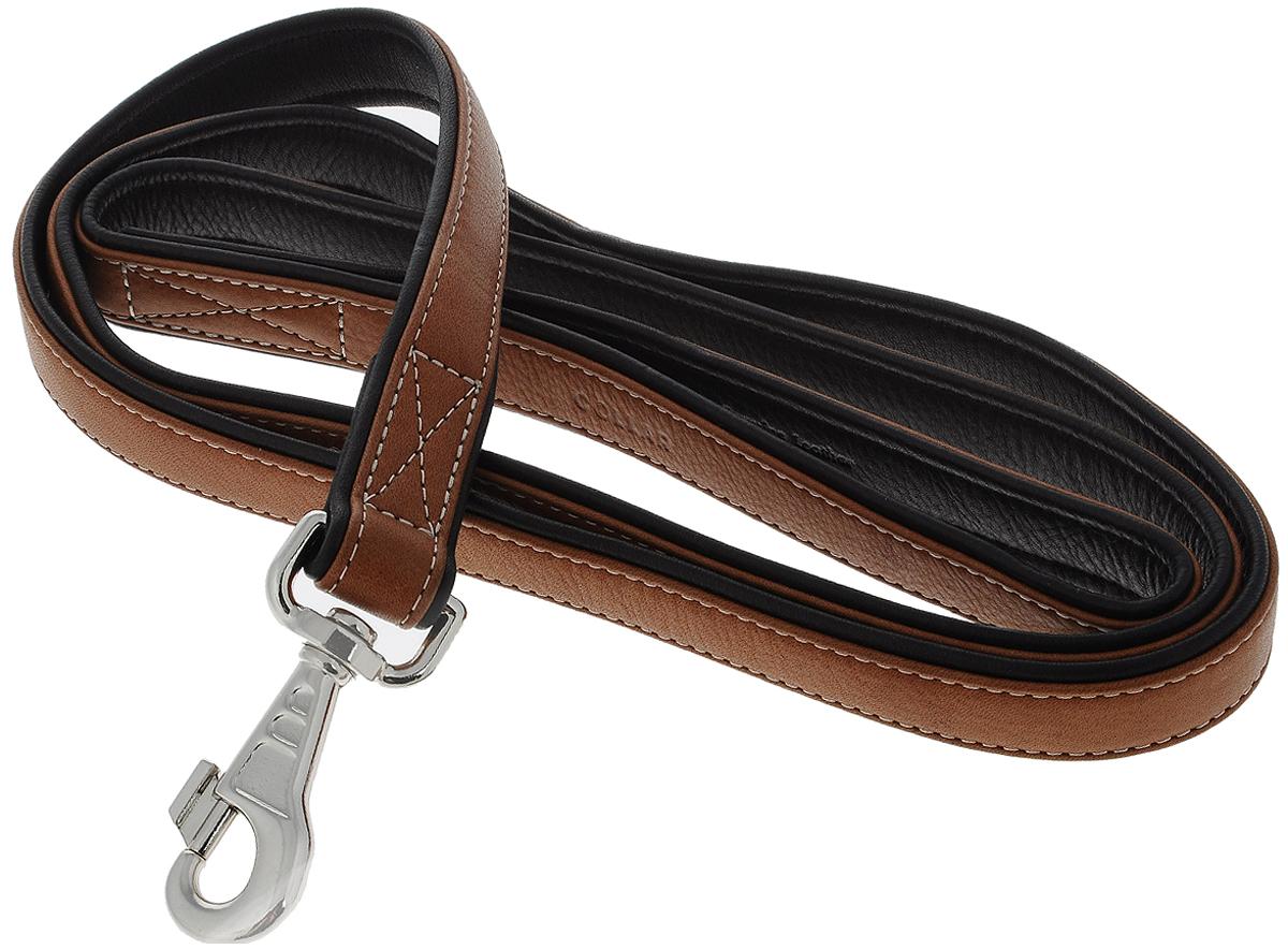 Поводок для собак CoLLaR SOFT, цвет: коричневый, черный, ширина 2,5 см, длина 1,83 м2188Поводок для собак CoLLaR SOFT верхом изготовлен из натуральной кожи и снабжен металлическим карабином. Поводок отличается не только исключительной надежностью и удобством, но и оригинальным дизайном. Он идеально подойдет для активных собак, для прогулок на природе и охоты. Поводок - необходимый аксессуар для собаки. Ведь в опасных ситуациях именно он способен спасти жизнь вашему любимому питомцу. Ширина поводка: 2,5 см. Длина поводка: 1,83 м.