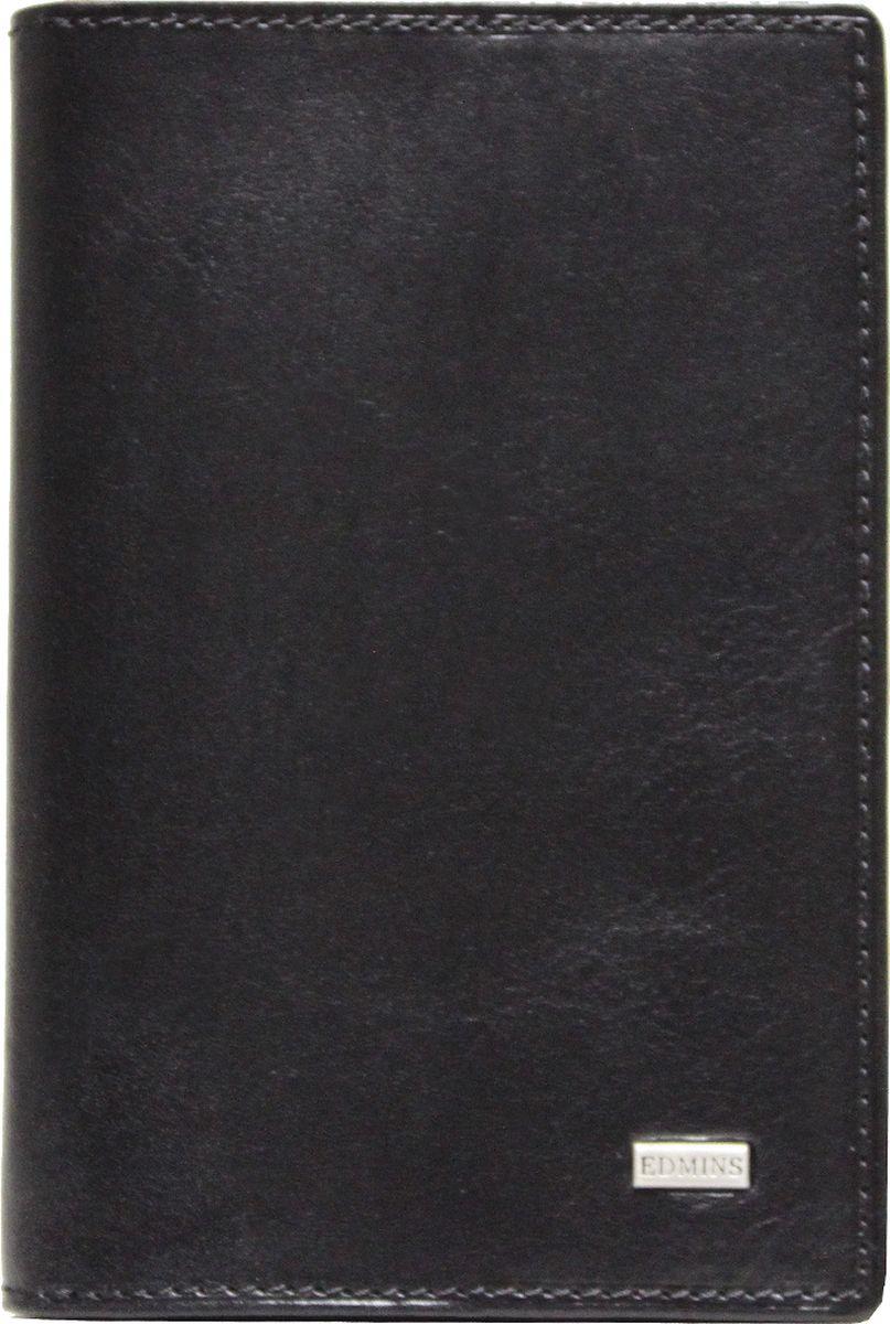 Обложка для документов Edmins, цвет: черный. 1424 ML ED1424 ML ED blackОбложка для документов Edmins выполнена из натуральной кожи с естественной фактурой и оформлена металлическим элементом с символикой бренда. Подкладка изготовлена из полиэстера. Изделие раскладывается пополам. Внутри размещены несколько накладных кармашков из прозрачного ПВХ, накладной карман с окошком и угловой кармашек для карточек. В коллекциях кожгалантереи Edmins удачно сочетаются итальянская классика и шведский прагматизм, новаторство молодых дизайнеров и работы именитых мастеров, строгая цветовая гамма и смелые эксперименты с цветом. Изделия Edmins, разработанные в Италии, отличает высокое качество кожи, прекрасная износостойкость и актуальность коллекций. Изделие упаковано в фирменную коробку.
