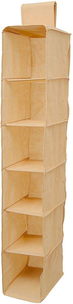 Органайзер Homsu Bora-Bora, подвесной в шкаф, 120х22х31 см, цвет: бежевыйHOM-748Подвесной органайзер имеет 6 раздельных ячеек размером 30Х20см, очень удобен для хранения вещей в вашем шкафу. Идеально для колготок, шапок, шарфов, мелочей и других вещей ежедневного пользования. Размер изделия: 22х31х120см.