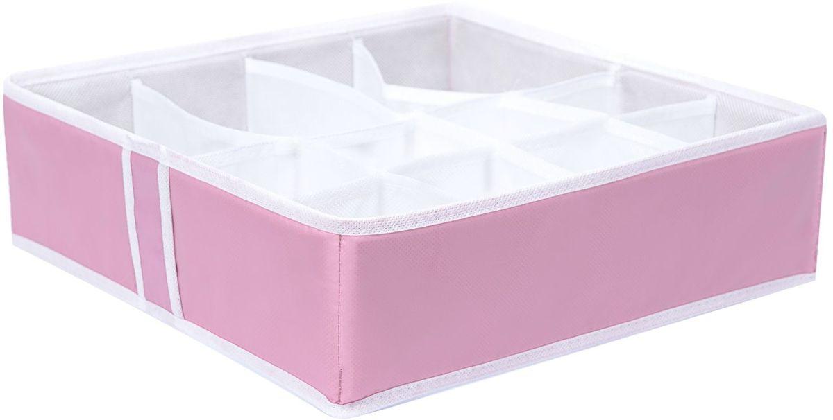 Органайзер Homsu Capri, на 12 секций, 35х35х10 см, цвет: розовыйHOM-750Квадратный и плоский органайзер имеет 12 раздельных ячеек, 8 ячеек размером 8Х8см и 4 ячейки размером 8Х16см, очень удобен для хранения мелких вещей в вашем ящике или на полке. Идеально для носков, платков, галстуков и других вещей ежедневного пользования. Имеет жесткие борта, что является гарантией сохранности вещей. Размер изделия: 35х35х10см.