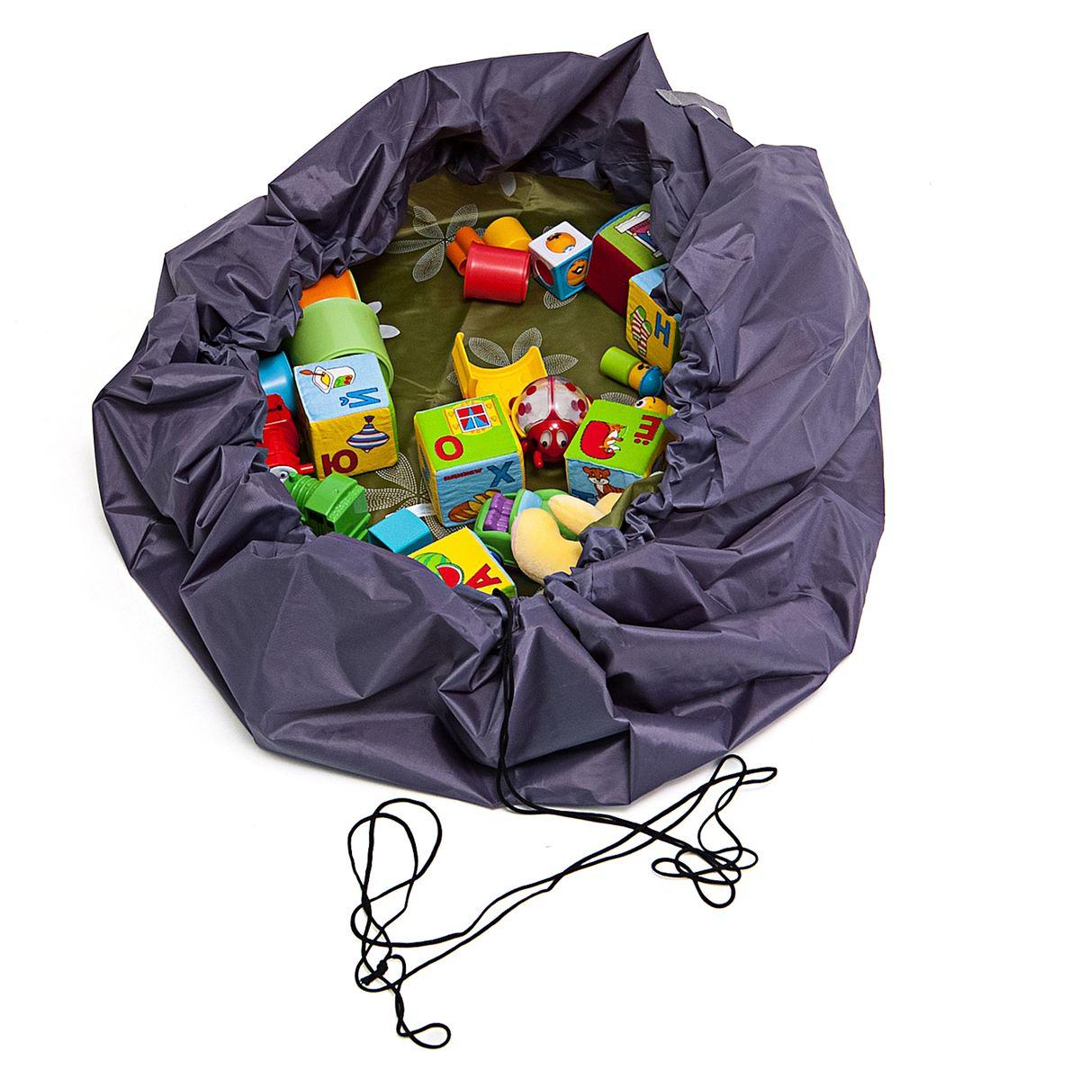 Сумка-коврик Homsu Лужайка, цвет: зеленый, 150х150 смR-109Сумка-коврик это оригинальный способ хранения и транспортировки детских игрушек. В разложенном состоянии - это поле для игры, а когда нужно собрать игрушки, он затягивается на шнурок и превращается в удобную сумку. Выполнен из прочного, но мягкого канваса. Размер изделия: 150х150см