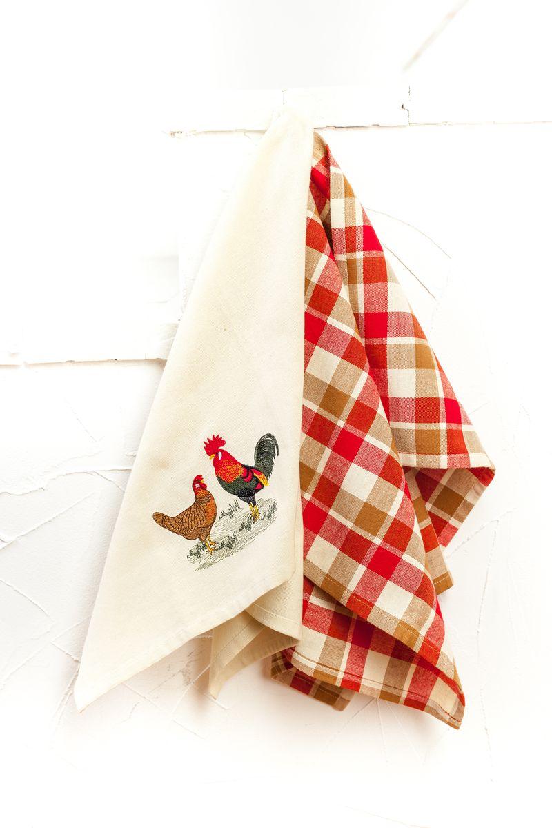 Набор кухонных полотенец Arloni Петушок и курочка, 40 х 60 см, 2 шт4058.1