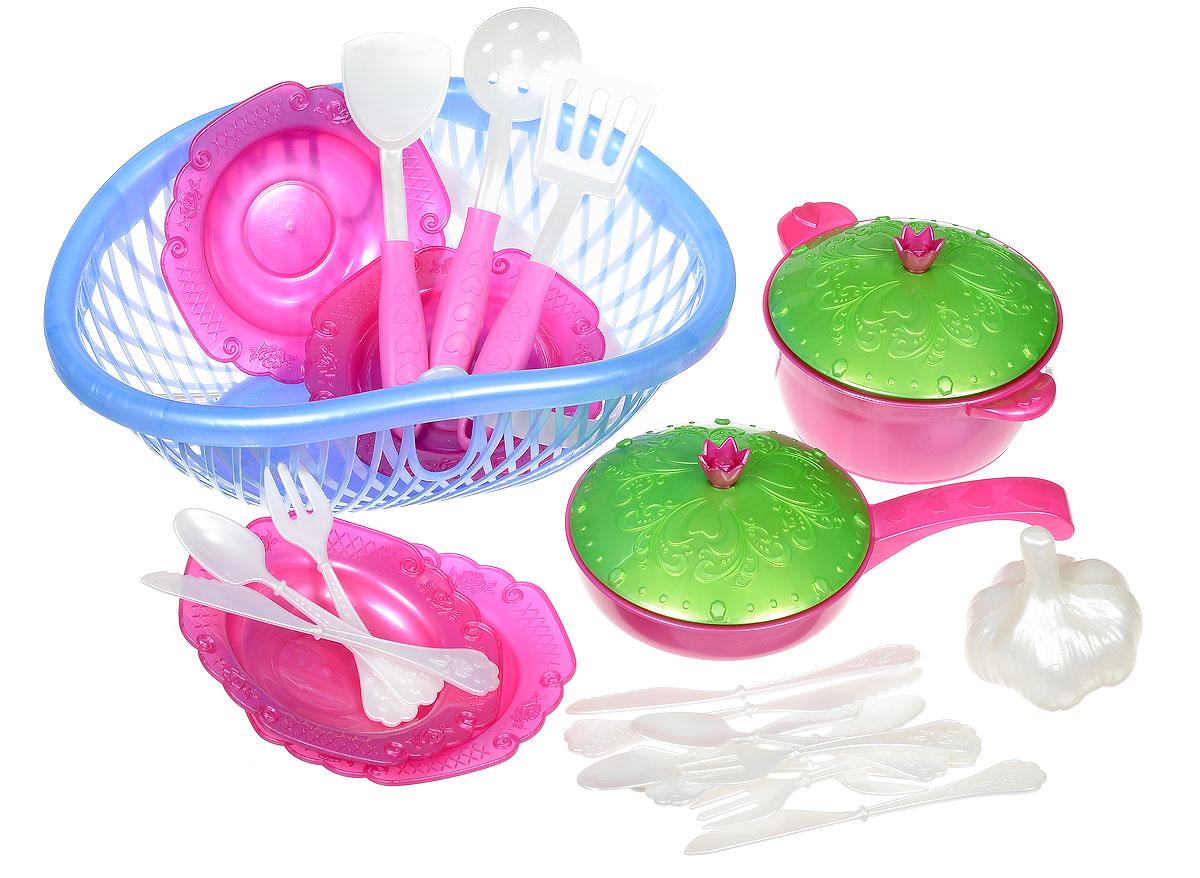 Нордпласт Игрушечный набор посуды Кухонный сервиз Волшебная Хозяюшка цвет сиреневый фуксия зеленыйН-626_сиреневый фуксия зеленыйНабор посуды в лукошке Волшебная Хозяюшка - это игрушечные кухонные принадлежности, которые дополнят и разнообразят досуг ребенка. С таким набором все игрушки всегда будут сыты, а резные тарелочки и крышечки приведут в восторг любую маленькую хозяюшку. С набором посуды малышка сможет устроить вкусный обед для себя и своих игрушек. Все предметы изготовлены из высокопрочного яркого пластика. Предметы поместились в практичном лукошке с удобной ручкой для переноски. В лукошке 23 предмета столовой посуды: две лопаточки, ложка с дырочками, кастрюля с крышкой, сковорода с крышкой, 4 тарелки, 4 ложки, 4 вилки, 4 ножа и одна игрушечная головка чеснока. Набор Волшебная Хозяюшка станет великолепным подарком для вашей малышки.