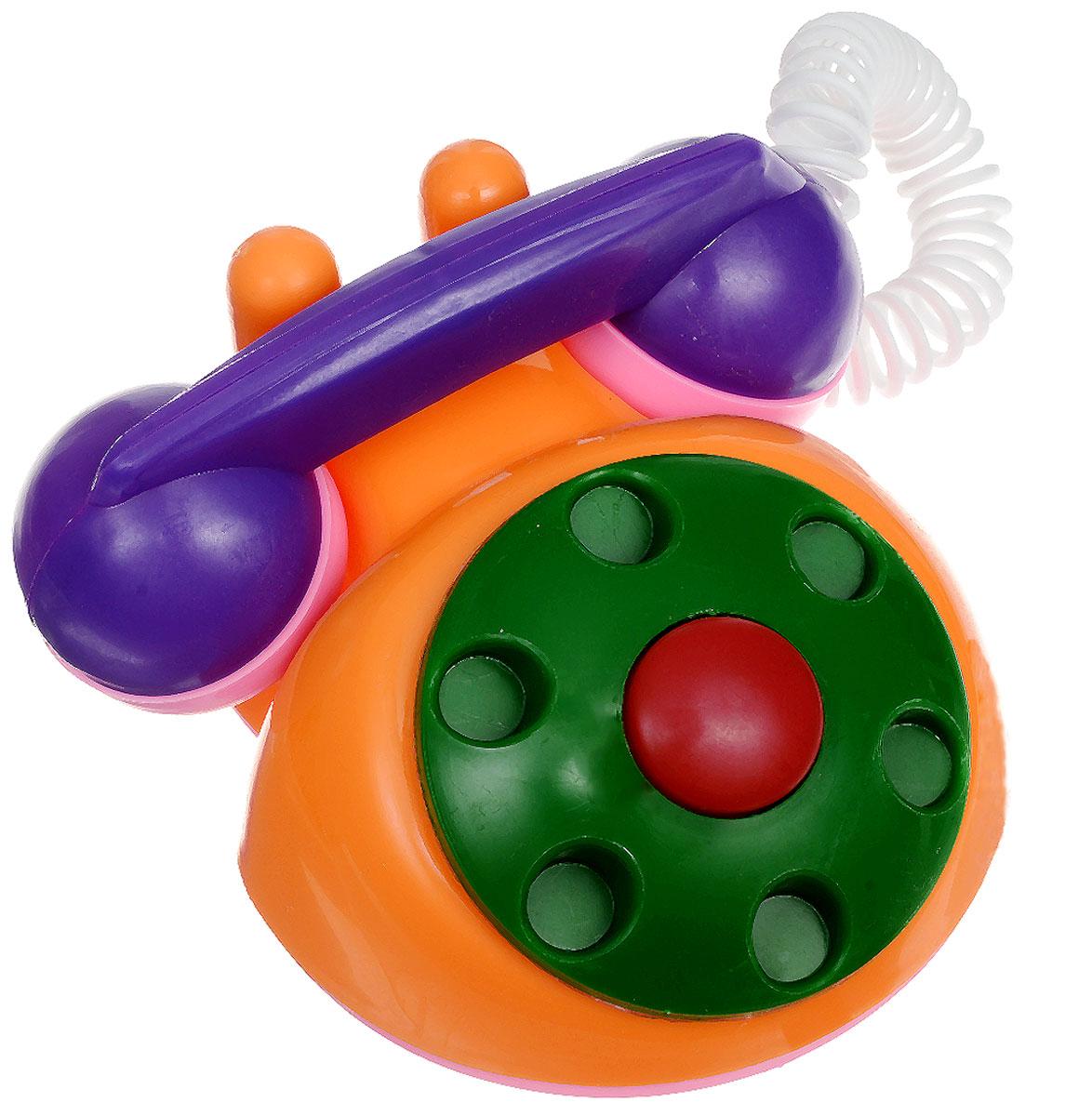 Аэлита Детский телефон цвет оранжевый зеленый2С454_оранжевый, зеленыйЯркий детский телефон Аэлита не оставит вашего малыша равнодушным и не позволит ему скучать! Игрушка представляет собой старинный дисковый аппарат с пружинным проводом, идущим к трубке. Небольшая трубка очень удобна по размерам для детских ручек. Диск крутится с мелодичным звоном, пружинный провод легко растягивается и собирается обратно. Яркие цвета игрушки направлены на развитие мыслительной деятельности, цветового восприятия, тактильных ощущений и мелкой моторики рук ребенка, а элемент набора номера на телефоне способствует развитию слуха.
