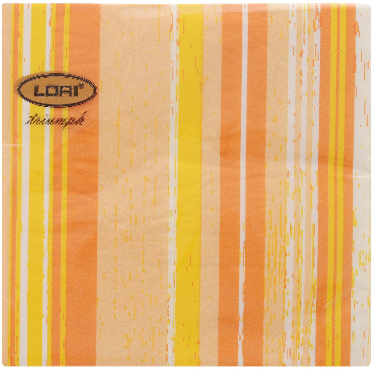 Салфетки бумажные Lori Triumph Полоски, трехслойные, цвет: оранжевый, белый, 33 х 33 см, 20 шт56057Декоративные трехслойные салфетки Lori Triumph Полоски выполнены из 100% целлюлозы и оформлены ярким рисунком. Изделия станут отличным дополнением любого праздничного стола. Они отличаются необычной мягкостью, прочностью и оригинальностью. Размер салфеток в развернутом виде: 33 х 33 см.