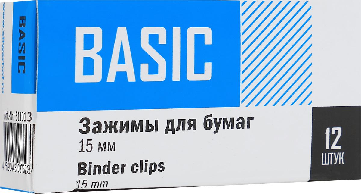 Silwerhof Зажим для бумаг Basic ширина 15 мм 12 шт511013Зажим для бумаг Silwerhof Basic предназначен для скрепления бумажных носителей. Зажим выполнен из стали. В упаковке 12 зажимов.