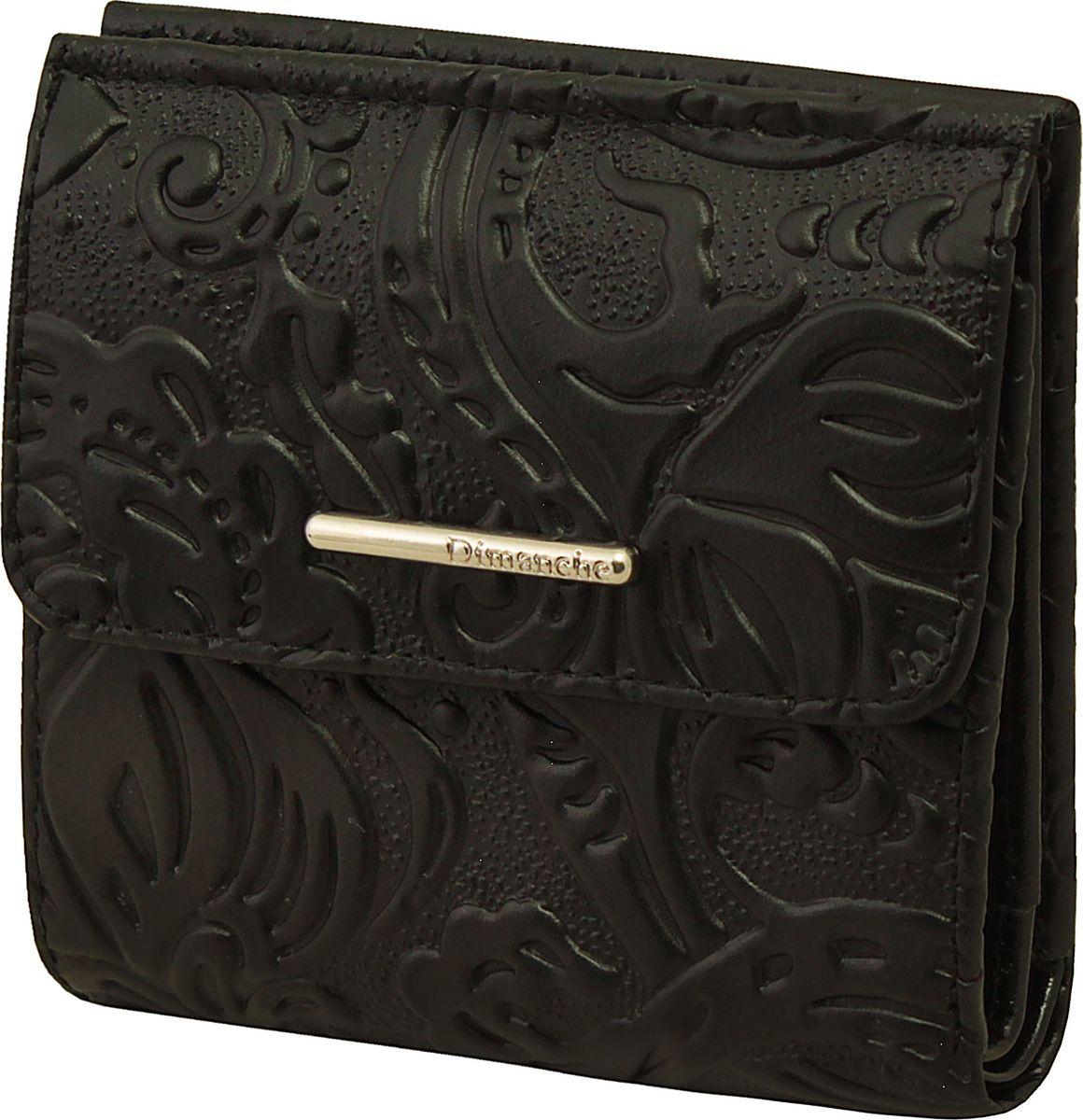 Кошелек женский Dimanche Арабеска, цвет: черный. 352352Кошелек Dimanche выполнен из натуральной лаковой кожи и оформлен декоративным тиснением. На лицевой стороне расположен объемный карман для мелочи, который закрывается клапаном с кнопкой. Внутри расположено два открытых кармана для купюр, карман для купюр на молнии, два кармана для кредиток, карман для sim-карты, карман с пластиковым окошком для документов и два вертикальных кармана.