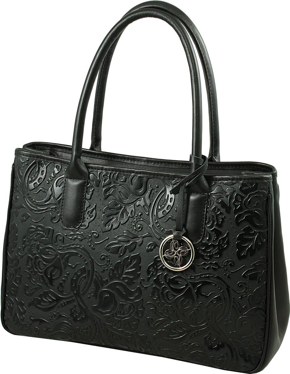 Сумка женская Dimanche Кристи, цвет: черный. 443/111443/111Удобная женская сумка выполнена из высококачественной натуральной кожи. Идеальна для формата А4. На задней стороне сумки имеется карман на молнии, по бокам - оригинальные кнопочки позволяющие варьировать внутренний объем. Закрывается на молнию, внутри с одного бока карман на молнии, с другого - два открытых кармашка, внутреннее пространство сумки разделено на два отделения карманом-перегородкой с молнией.