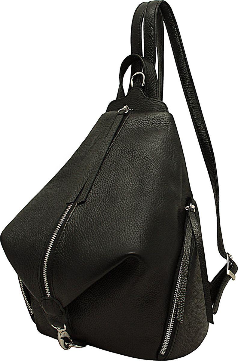 Сумка женская Dimanche Синди, цвет: черный. 465/1465/1Удобный эргономичный рюкзак оригинальной формы. Внутри имеется карман на молнии. Два больших кармана по бокам и на задней стенке карман на молнии. Лямки регулируются по длине до 65 см.