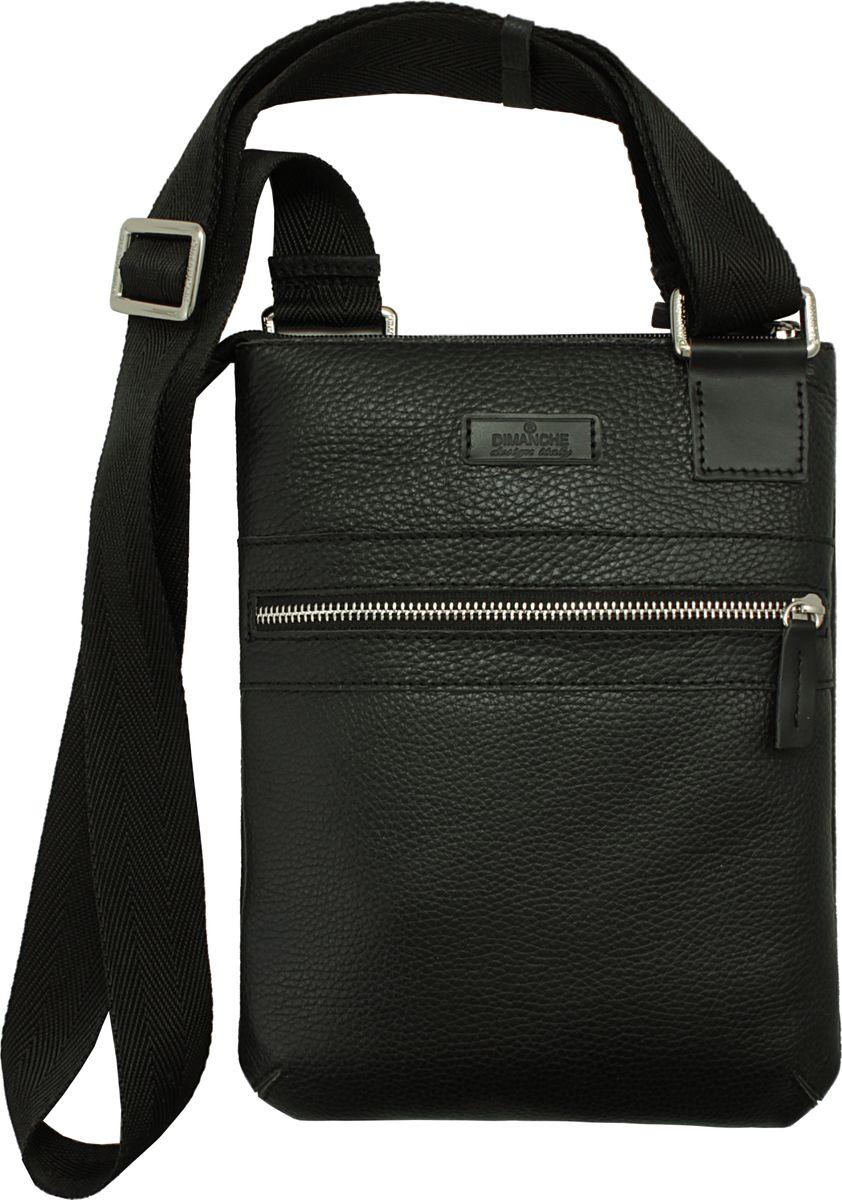 Сумка Dimanche Планшет, цвет: черный. 811/1_F811/1_FСтильная удобная сумка-планшет. Одно отделение на молнии, внутри два кармана (один на молнии, второй открытый). На лицевой стороне есть карман на молнии. Текстильный ремень регулируется по длине.