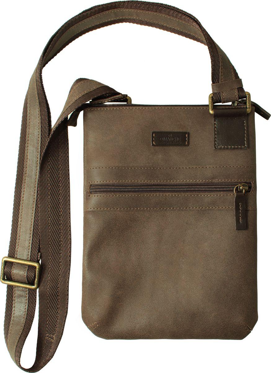 Сумка мужская Dimanche Кантри, цвет: коричневый. 811_35811_35Стильная удобная сумка-планшет. Одно отделение на молнии, внутри два кармана (один на молнии, второй открытый). На лицевой стороне есть карман на молнии. Текстильный ремень регулируется по длине.