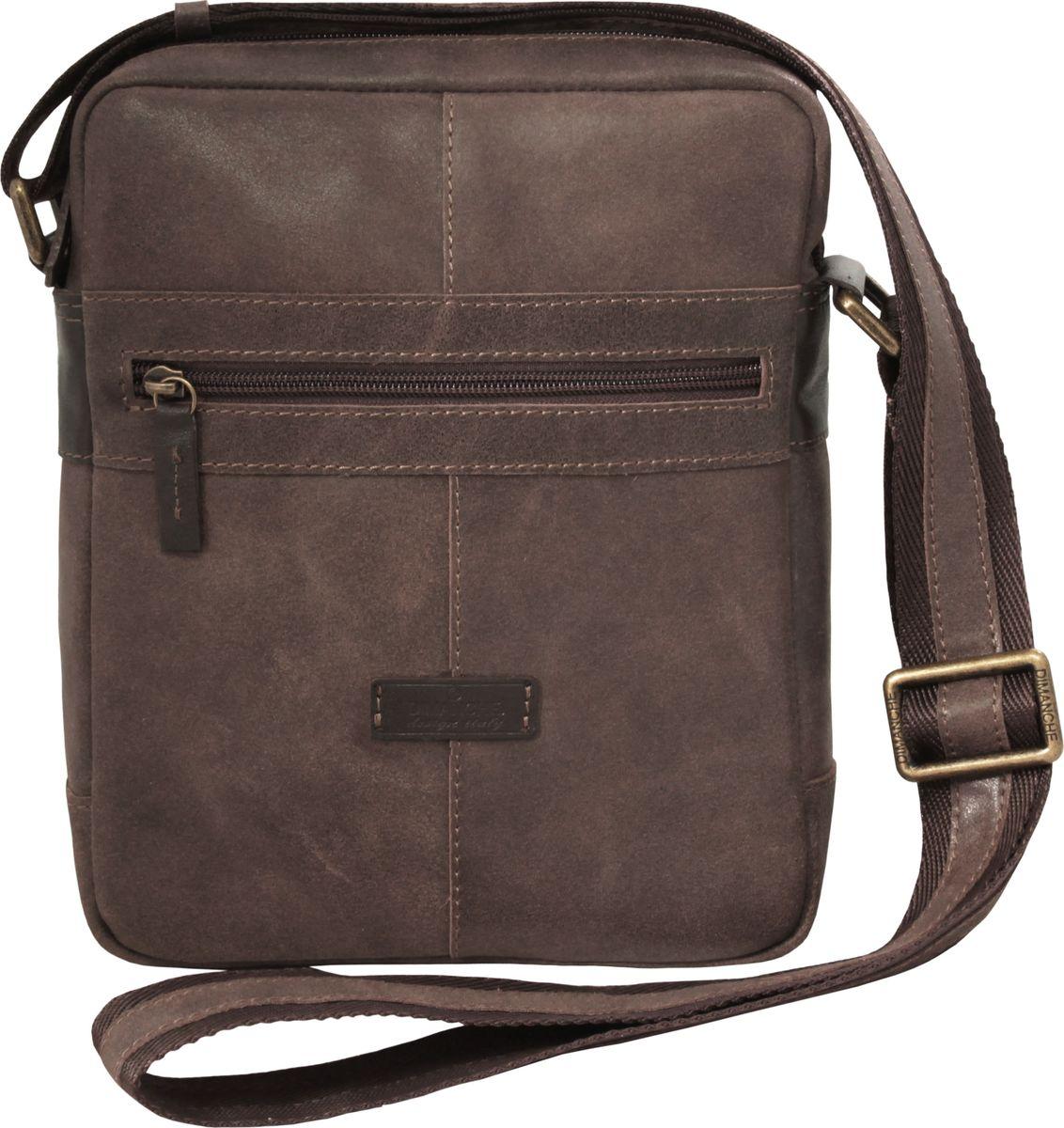 Сумка мужская Dimanche Поло, цвет: коричневый. 879/135879/135Мужская сумка среднего размера состоит из трех отделений, закрывающихся на молнию. Изготовлен из натуральной мягкой кожи. Комбинированный ремень регулируется по длине до 150 см.