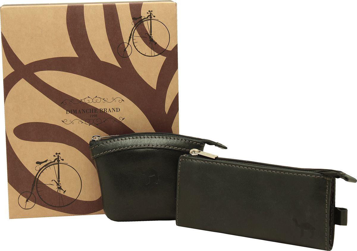 Набор подарочный мужской Dimanche Camel, цвет: черный. 389/784К/348К389/784К/348КНабор состоит из монетницы и удобной ключницы на молнии с дополнительным кармашком. Изделия из мягкой натуральной кожи. Набор упакован в подарочную картонную коробку