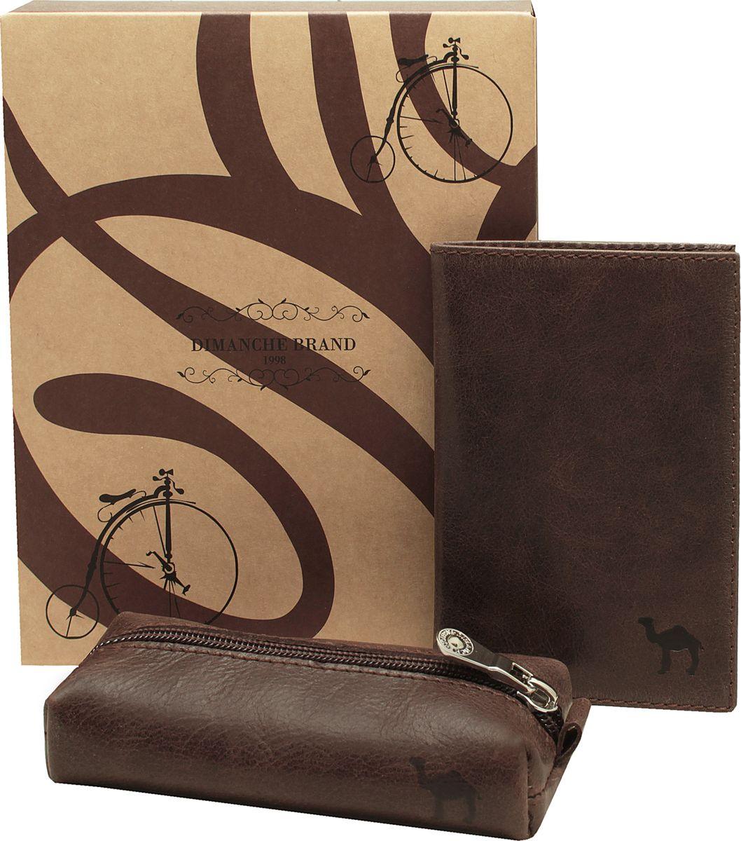 Набор подарочный мужской Dimanche Camel, цвет: коричневый. 389/630К/636К389/630К/636КНабор состоит из обложки для паспорта и удобной ключницы на молнии. Изделия из мягкой натуральной кожи. Набор упакован в подарочную картонную коробку
