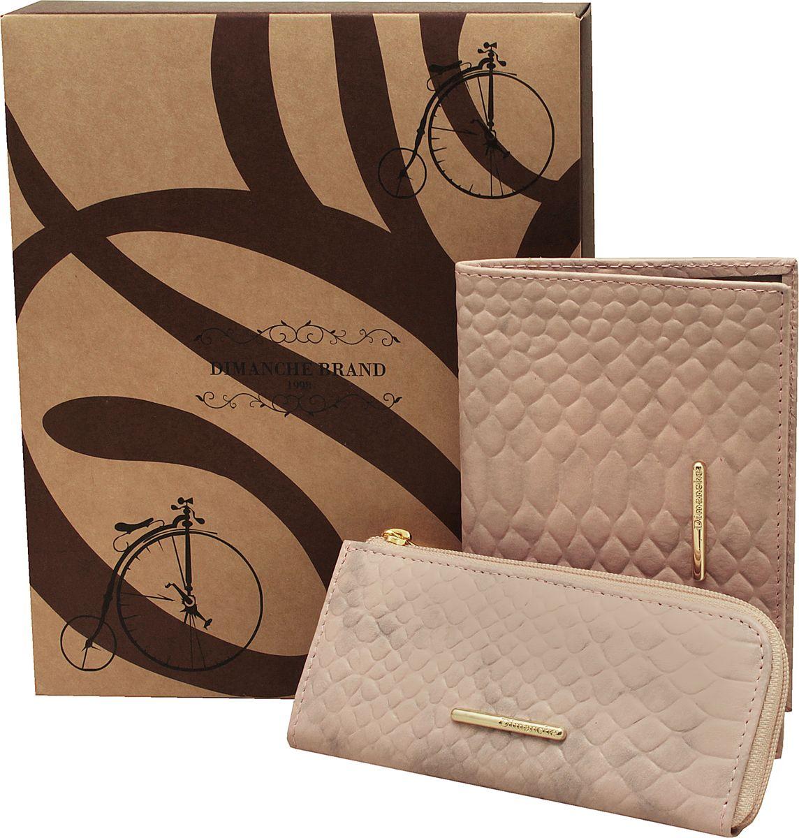 Набор подарочный женский Dimanche Nice, цвет: розовый. 389/790/795389/790/795Набор состоит из обложки для паспорта и удобной ключницы на молнии с дополнительным кармашком. Изделия из мягкой натуральной кожи с изящным украшением. Набор упакован в подарочную картонную коробку
