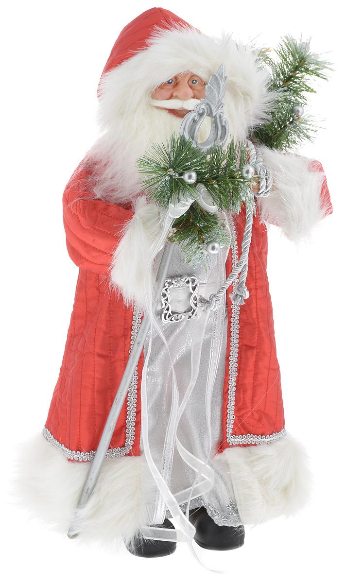 Фигурка новогодняя ESTRO Дед Мороз с посохом, цвет: красный, серебристый, высота 50 смC21-181106Декоративная фигурка Дед Мороз с посохом изготовлена из высококачественных материалов в оригинальном стиле. Фигурка выполнена в виде Деда Мороза с посохом. Уютная и милая интерьерная игрушка предназначена для взрослых и детей, для игр и украшения новогодней елки, да и просто, для создания праздничной атмосферы в интерьере! Фигурка прекрасно украсит ваш дом к празднику, а в остальные дни с ней с удовольствием будут играть дети. Оригинальный дизайн и красочное исполнение создадут праздничное настроение. Фигурка создана вручную, неповторима и оригинальна. Порадуйте своих друзей и близких этим замечательным подарком!