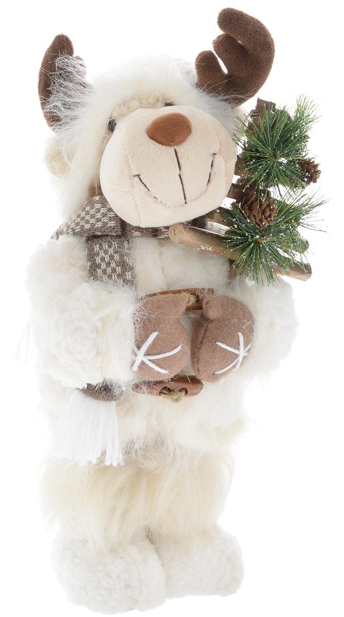 Фигурка новогодняя ESTRO Лось, цвет: белый, коричневый, высота 40 смC21-161119Декоративная фигурка Лось изготовлена из высококачественных материалов в оригинальном стиле. Фигурка выполнена в виде лося. Уютная и милая интерьерная игрушка предназначена для взрослых и детей, для игр и украшения новогодней елки, да и просто, для создания праздничной атмосферы в интерьере! Фигурка прекрасно украсит ваш дом к празднику, а в остальные дни с ней с удовольствием будут играть дети. Оригинальный дизайн и красочное исполнение создадут праздничное настроение. Фигурка создана вручную, неповторима и оригинальна. Порадуйте своих друзей и близких этим замечательным подарком!.