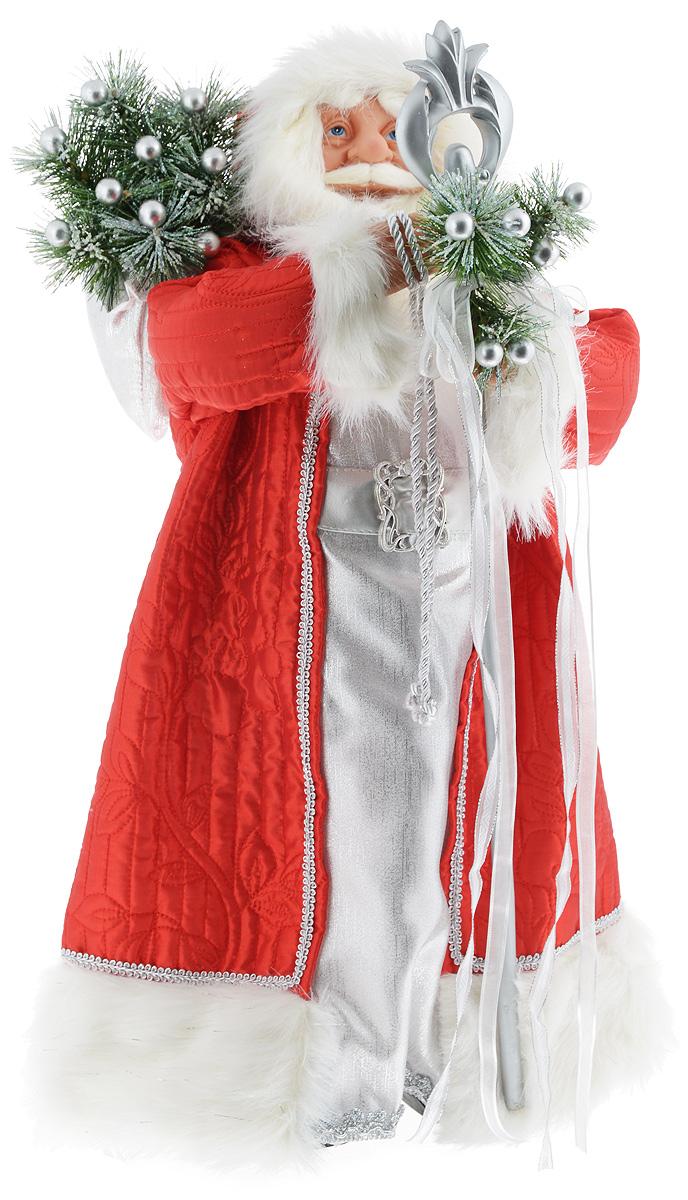 Фигурка новогодняя ESTRO Дед Мороз с посохом, цвет: красный, серебристый, высота 60 смC21-241046Декоративная фигурка Дед Мороз с посохом изготовлена из высококачественных материалов в оригинальном стиле. Фигурка выполнена в виде Деда Мороза с посохом. Уютная и милая интерьерная игрушка предназначена для взрослых и детей, для игр и украшения новогодней елки, да и просто, для создания праздничной атмосферы в интерьере! Фигурка прекрасно украсит ваш дом к празднику, а в остальные дни с ней с удовольствием будут играть дети. Оригинальный дизайн и красочное исполнение создадут праздничное настроение. Фигурка создана вручную, неповторима и оригинальна. Порадуйте своих друзей и близких этим замечательным подарком!