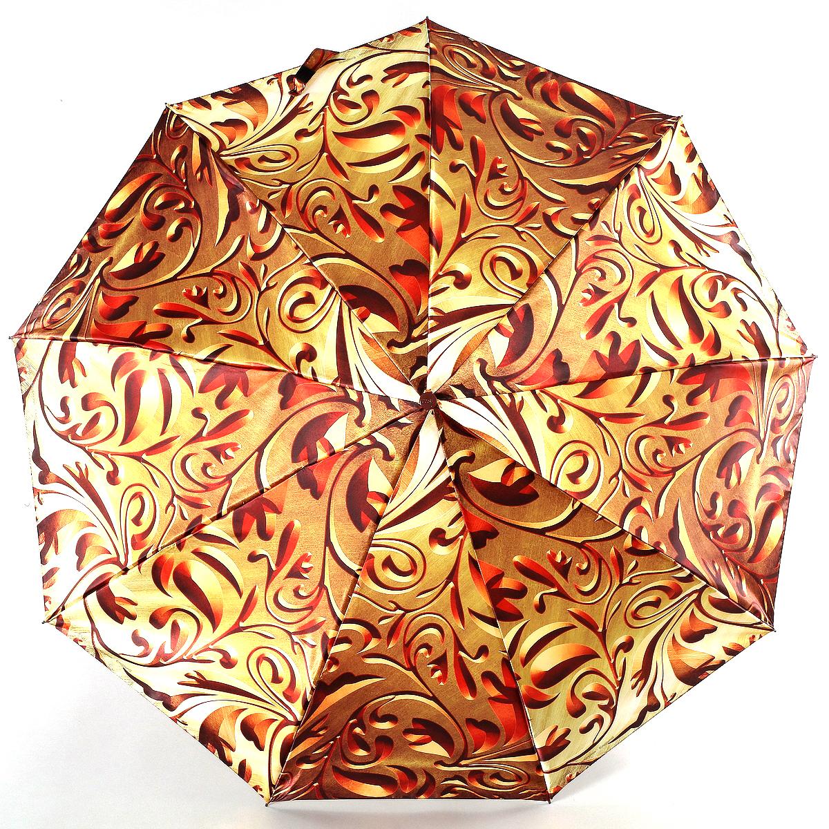 Зонт женский Zest, цвет: золотой, красный. 23944-301923944-3019Сатиновый женский зонт в 3 сложения. Модель зонта выполнена в механизме - полный автомат, оснащена системой Антиветер, которая позволяет спицам при порывах ветра выгибаться наизнанку, и при этом не ломаться. Удобная ручка выполнена из пластика. Данный аксессуар особенно хорош для тех, кто привык к комфорту. Вес зонта 480 грамм.