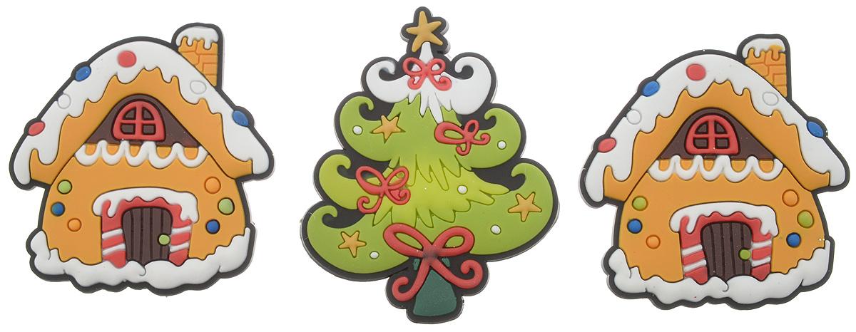 Набор магнитов B&H Два домика, елка, 3 штBH1001_желтый, зеленыйМагниты B&H Два домика, елка прекрасно дополнят интерьер помещения в преддверии Нового года. Магниты выполнены из резины в виде двух домиков и елочки. Создайте в своем доме атмосферу веселья и радости, украшая его к Новому году. Откройте для себя удивительный мир сказок и грез. Почувствуйте волшебные минуты ожидания праздника, создайте новогоднее настроение вашим родным и близким. Средний размер магнитов: 4,8 х 5 см.