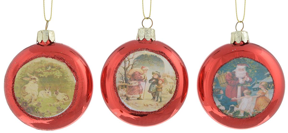 Набор новогодних подвесных украшений Winter Wings Диск. Открытки, цвет: красный, 3 штN07747_красныйНабор Winter Wings Открытки отлично подойдет для декора праздничной ели. В наборе 3 новогодних елочных игрушки, выполненные из стекла. Игрушки оснащены петельками для подвешивания. Елочная игрушка - символ Нового года. Она несет в себе волшебство и красоту праздника. Создайте в своем доме атмосферу веселья и радости, украшая новогоднюю елку нарядными игрушками, которые будут из года в год накапливать теплоту воспоминаний. Диаметр украшения: 6,5 см.