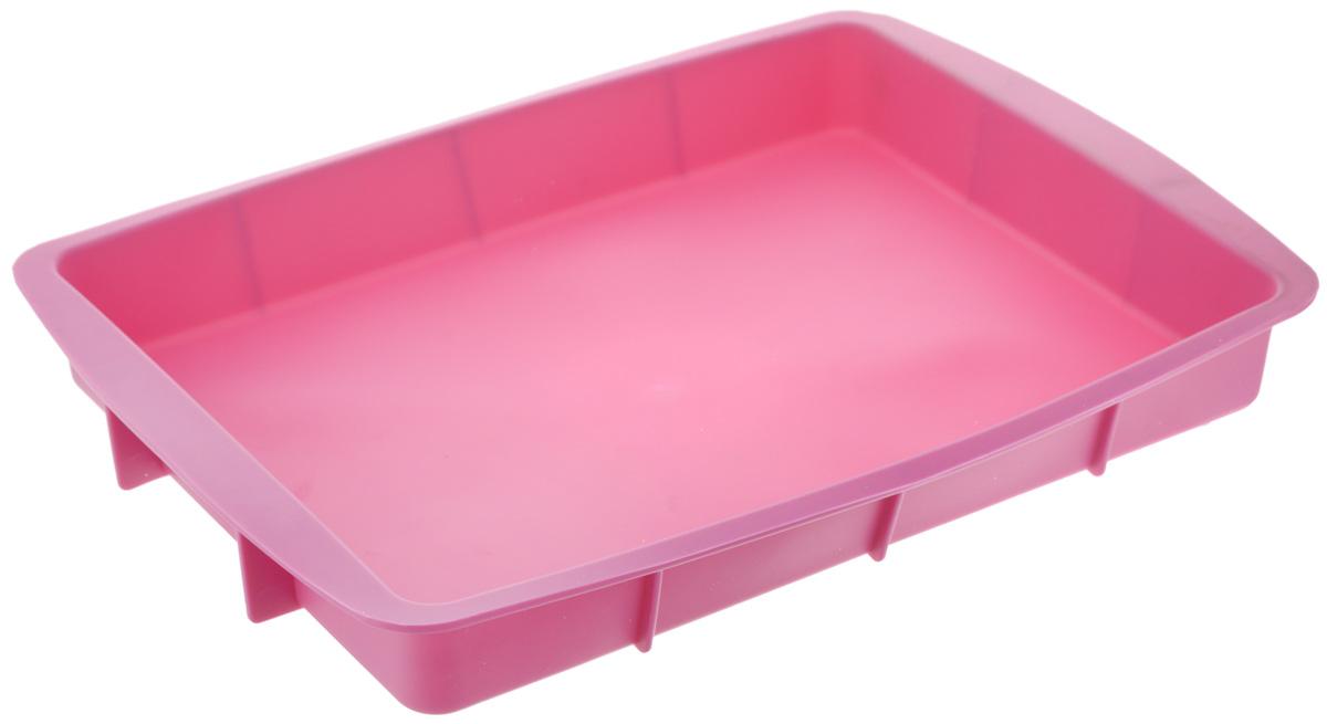 Форма для выпечки House & Holder, прямоугольная, силиконовая, цвет: розовый, 33,5 х 23 х 4 см09-40046_розовыйФорма для выпечки House & Holder выполнена из высококачественного пищевого силикона. Идеально подходит для приготовления выпечки, десертов и холодных закусок. Форма обладает естественными антипригарными свойствами. Не выделяет вредных веществ при высоких температурах. Подходит для использования в духовке и микроволновой печи.