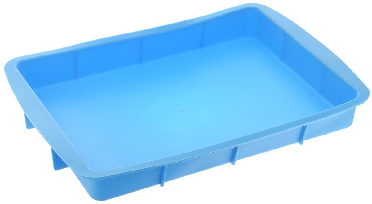 Форма для выпечки House & Holder, прямоугольная, силиконовая, цвет: голубой, 33,5 х 23 х 4 см09-40046_голубойФорма для выпечки House & Holder выполнена из высококачественного пищевого силикона. Идеально подходит для приготовления выпечки, десертов и холодных закусок. Форма обладает естественными антипригарными свойствами. Не выделяет вредных веществ при высоких температурах. Подходит для использования в духовке и микроволновой печи.