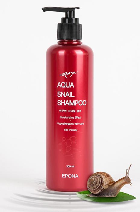 Epona Шампунь Aqua Snail, 300 мл850034Улиточный шампунь, благодаря высокому содержанию - муцина, аллантоина, коллагена и эластина, интенсивно увлажняет, волосы и кожу головы, не создавая ощущение жирности, ускоряет рост волос. Придает блеск и объем волосам, не утяжеляя их, делает более струящимися. Шампунь защищает от неприятных запахов, предохраняет от негативного воздействия фена и окружающей внешней среды, помогает дольше сохранить цвет окрашенных волос. Шампунь подходит для всех типов волос.
