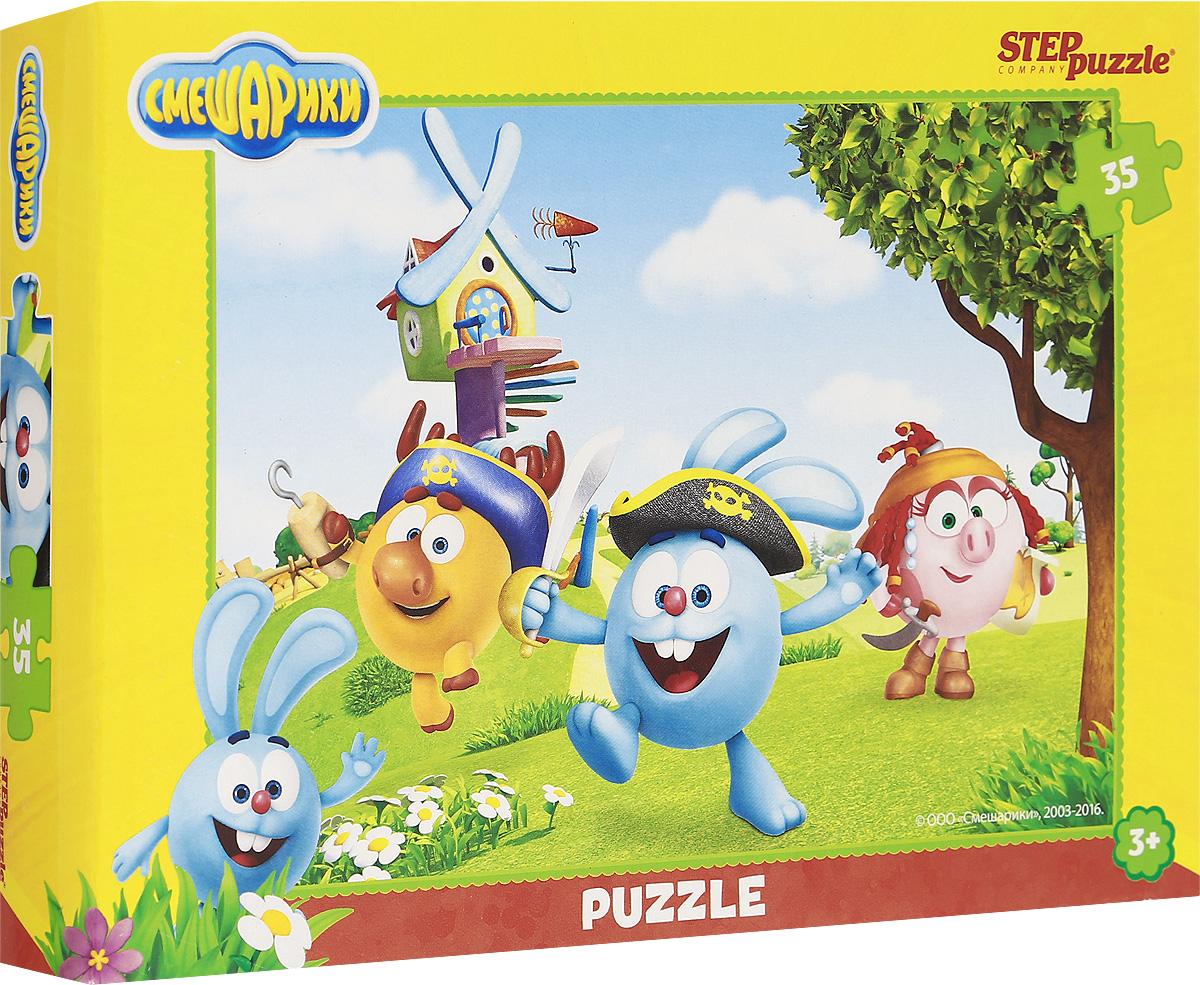 Step Puzzle Пазл для малышей Смешарики 9114691146Пазл для малышей Step Puzzle Смешарики создан по мотивам мультфильма Смешарики. История рассказывает о шарообразных существах, живущих в стране Смешариков, и попадающих в различные приключения. Собрав этот пазл, состоящий из 35 элементов, вы получите картинку с изображением персонажей-смешариков. Пазл - великолепная игра для семейного досуга. Сегодня собирание пазлов стало особенно популярным, главным образом, благодаря своей многообразной тематике, способной удовлетворить самый взыскательный вкус. Для детей это не только интересно, но и полезно. Собирание пазла развивает мелкую моторику ребенка, тренирует наблюдательность, логическое мышление, знакомит с окружающим миром, с цветом и разнообразными формами.