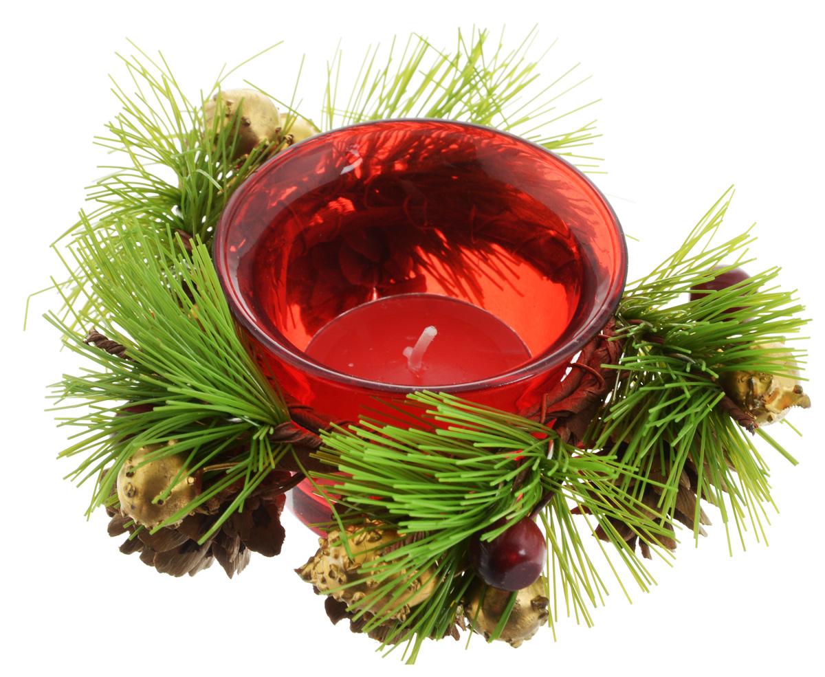 Подсвечник Lovemark, со свечой, цвет: красный, зеленый, золотистый. 5A11445A1144_красныйПодсвечник Lovemark представляет собой стеклянную емкость для чайной свечи, оформленную изысканным декоративным элементом в виде хвойной веточки с шишками. Чайная свеча зеленого цвета входит в комплект. Такой подсвечник элегантно оформит интерьер вашего дома. Мерцание свечи создаст атмосферу романтики и уюта. Диаметр емкости (по верхнему краю): 6,5 см. Высота емкости: 4,5 см. Диаметр свечи: 3,5 см.