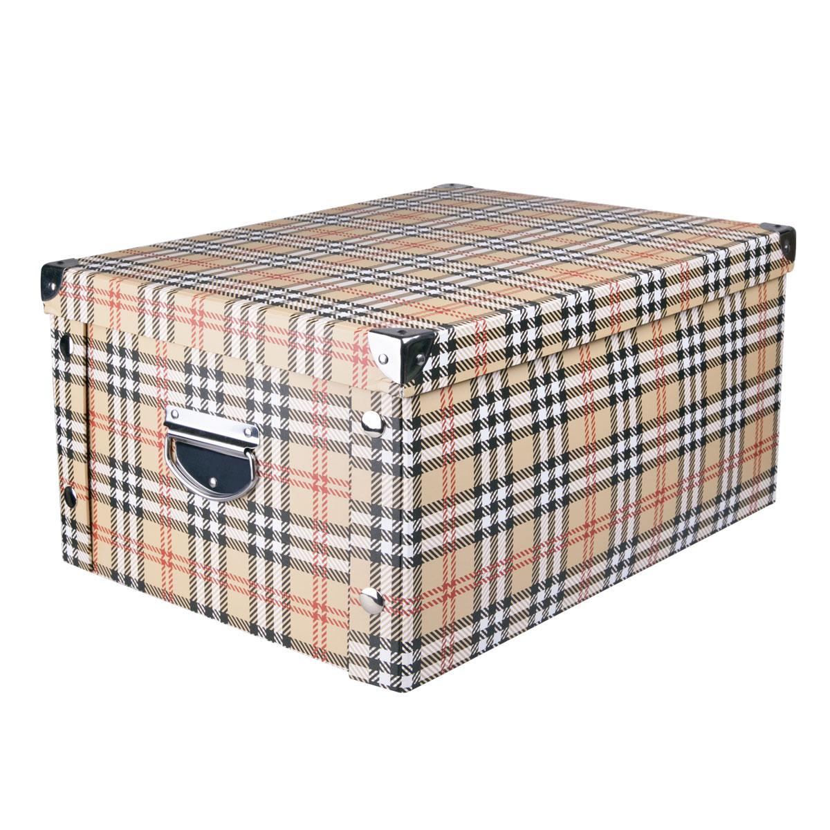 Коробка для хранения Miolla, 45 х 35 х 22,5 см. CFB-08CFB-08Коробка для хранения Miolla прекрасно подойдет для хранения бытовых мелочей, документов, аксессуаров для рукоделия и других мелких предметов. Коробка поставляется в разобранном виде, легко и быстро складывается. Плотная крышка и удобные для переноски металлические ручки станут приятным дополнением к функциональным достоинствам коробки. Удобная крышка не даст ни одной вещи потеряться, а оптимальный размер подойдет для любого шкафа или полки. Компактная, но при этом вместительная коробка для хранения станет яркой нотой в вашем интерьере.