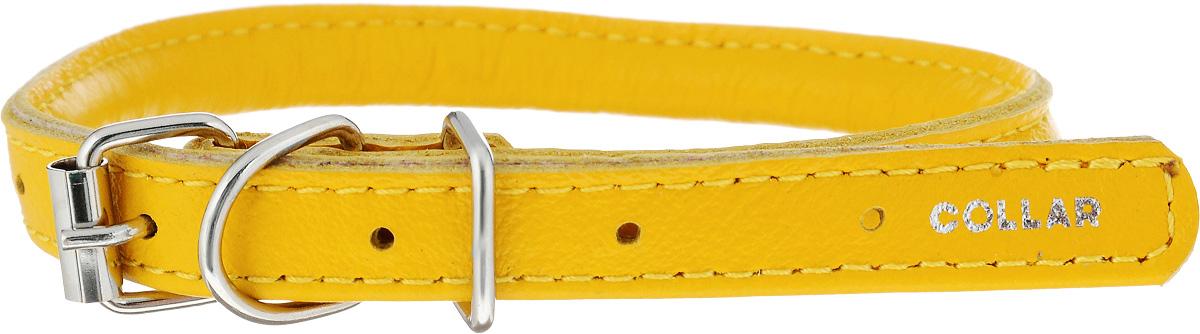 Ошейник для собак CoLLaR Glamour, цвет: желтый, диаметр 6 мм, обхват шеи 25-33 см22418Ошейник для собак CoLLaR Glamour, выполненный из натуральной кожи, устойчив к влажности и перепадам температур. Крепкие металлические элементы делают ошейник надежным и долговечным. Изделие отличается высоким качеством, удобством и универсальностью. Размер ошейника регулируется при помощи пряжки, зафиксированной на одном из 5 отверстий. Минимальный обхват шеи: 25 см. Максимальный обхват шеи: 33 см. Диаметр ошейника: 6 мм.