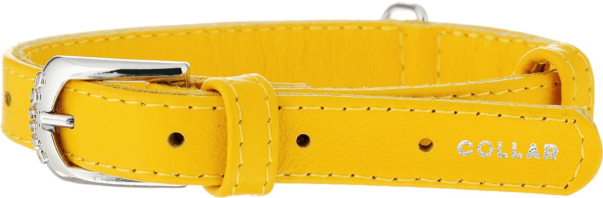 Ошейник для собак CoLLaR Glamour, цвет: желтый, ширина 1,5 см, обхват шеи 27-36 см32708Ошейник CoLLaR Glamour изготовлен из натуральной кожи, устойчивой к влажности и перепадам температур. Клеевой слой, сверхпрочные нити, крепкие металлические элементы делают ошейник надежным и долговечным. Изделие отличается высоким качеством, удобством и универсальностью. Размер ошейника регулируется при помощи металлической пряжки. Имеется металлическое кольцо для крепления поводка. Ваша собака тоже хочет выглядеть стильно! Такой модный ошейник станет для питомца отличным украшением и выделит его среди остальных животных. Минимальный обхват шеи: 27 см. Максимальный обхват шеи: 36 см. Ширина ошейника: 1,5 см.