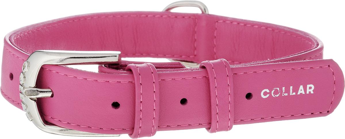 Ошейник для собак CoLLaR Glamour, цвет: розовый, ширина 2,5 см, обхват шеи 38-49 см. 3304733047Ошейник CoLLaR Glamour изготовлен из натуральной кожи, устойчивой к влажности и перепадам температур. Клеевой слой, сверхпрочные нити, крепкие металлические элементы делают ошейник надежным и долговечным. Размер ошейника регулируется при помощи металлической пряжки. Имеется металлическое кольцо для крепления поводка. Ваша собака тоже хочет выглядеть стильно! Такой модный ошейник станет для питомца отличным украшением и выделит его среди остальных животных. Изделие отличается высоким качеством, удобством и универсальностью. Обхват шеи: 38-49 см. Ширина: 2,5 см.
