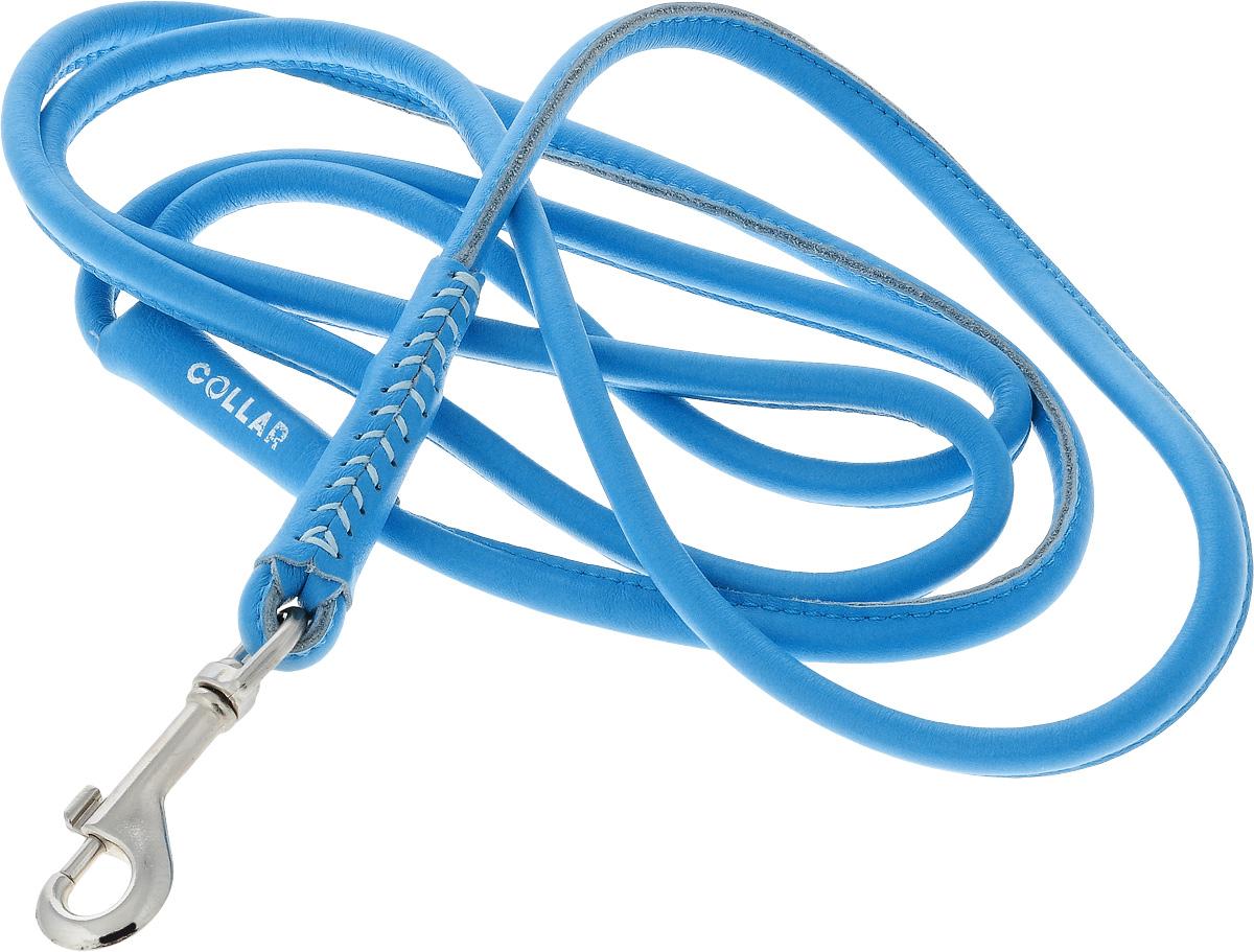 Поводок для собак CoLLaR Glamour, цвет: голубой, диаметр 8 мм, длина 1,83 м34392Поводок для собак CoLLaR Glamour изготовлен из натуральной кожи и снабжен металлическим карабином. Поводок отличается не только исключительной надежностью и удобством, но и ярким дизайном. Он идеально подойдет для активных собак, для прогулок на природе и охоты. Поводок - необходимый аксессуар для собаки. Ведь в опасных ситуациях именно он способен спасти жизнь вашему любимому питомцу. Длина поводка: 1,83 м. Диаметр поводка: 8 мм.