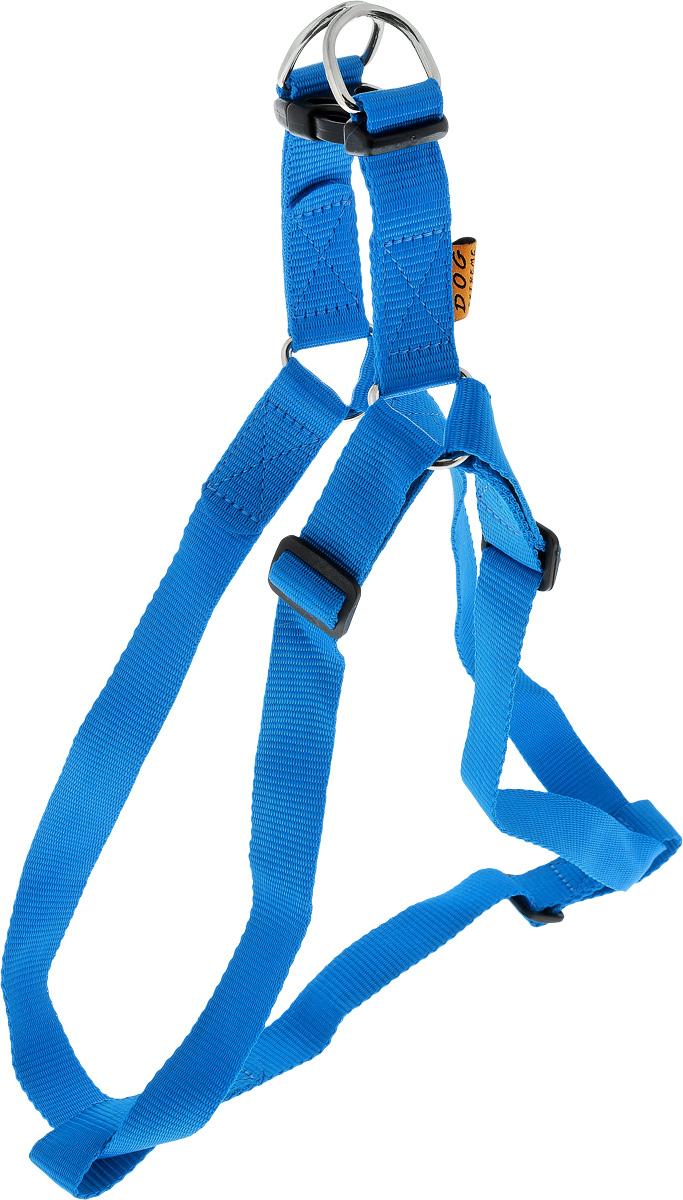 Шлейка для собак DOGextreme, регулируемая, цвет: синий, ширина 2,5 см, обхват груди 60-90 см06682Шлейка DOGExtreme, изготовленная из прочного нейлона, подходит для собак крупных пород. Крепкие пластиковые и металлические элементы делают ее надежной и долговечной. Шлейка - это альтернатива ошейнику. Правильно подобранная шлейка не стесняет движения питомца, не натирает кожу, поэтому животное чувствует себя в ней уверенно и комфортно. Размер регулируется при помощи пряжки. Изделие отличается высоким качеством, удобством и универсальностью. Обхват груди: 60-90 см. Ширина шлейки: 2,5 см.