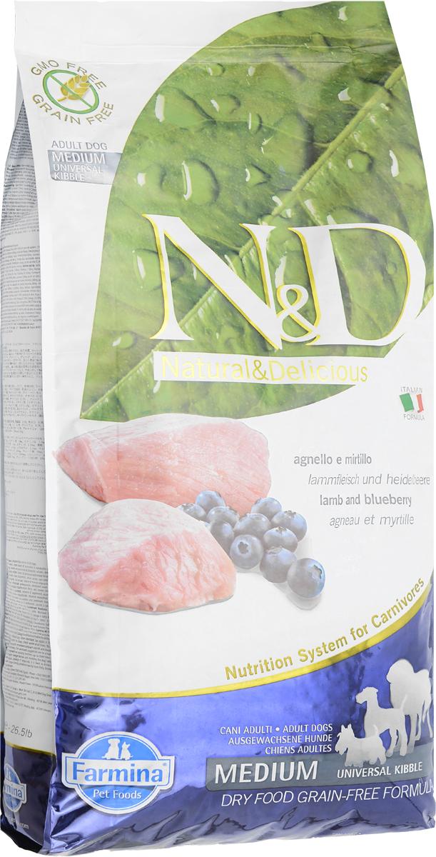 Корм сухой Farmina N&D для взрослых собак, беззерновой, с ягненком и черникой, 12 кг20369Сухой корм Farmina N&D является беззерновым и сбалансированным питанием для взрослых собак. Изделие имеет высокое содержание витаминов и питательных веществ. Сухой корм содержит натуральные компоненты, которые необходимы для полноценного и здорового питания домашних животных. Товар сертифицирован.